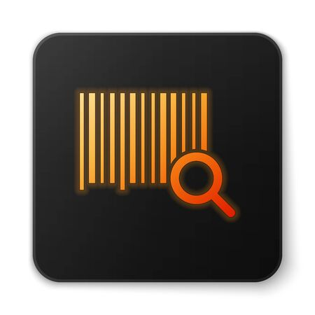 Orange glowing neon Search barcode icon isolated on white background. Magnifying glass searching barcode. Barcode label sticker. Research barcode. Black square button. Vector Illustration