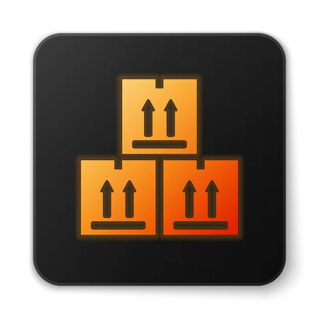 Orange glowing neon Cardboard box with traffic symbol icon isolated on white background. Box, package, parcel sign. Delivery, transportation and shipping. Black square button. Vector Illustration