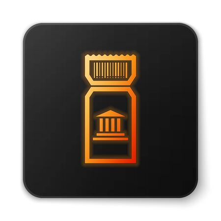Orange glowing neon Museum ticket icon isolated on white background. History museum ticket coupon event admit exhibition excursion. Black square button. Vector Illustration Illustration