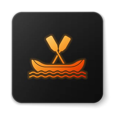 Orange glowing neon Rafting boat icon isolated on white background. Kayak with paddles. Water sports, extreme sports, holiday, vacation, team building. Black square button. Vector Illustration