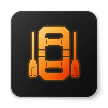 Orange glowing neon Rafting boat icon isolated on white background. Inflatable boat with oars. Water sports, extreme sports, holiday, vacation, team building. Black square button. Vector Illustration Çizim