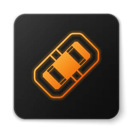 Orange glowing neon Rafting boat icon isolated on white background. Inflatable boat. Water sports, extreme sports, holiday, vacation, team building. Black square button. Vector Illustration Illustration