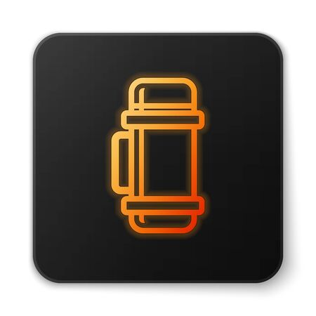 Orange glowing neon  container icon isolated on white background. Thermo flask icon. Camping and hiking equipment. Black square button. Vector Illustration