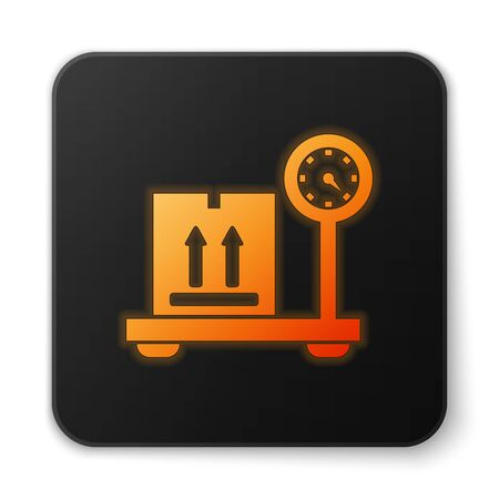 Orange glowing neon Scale with cardboard box icon isolated on white background. Logistic and delivery. Weight of delivery package on a scale. Black square button. Vector Illustration