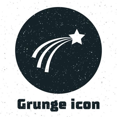 Grunge Falling star icon isolated on white background. Shooting star with star trail. Meteoroid, meteorite, comet, asteroid, star icon. Vector Illustration 일러스트