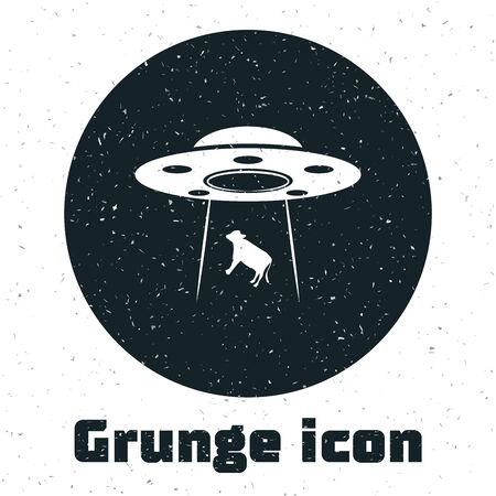 Grunge UFO abducts cow icon isolated on white background. Flying saucer. Alien space ship. Futuristic unknown flying object. Vector Illustration