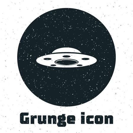 Grunge UFO flying spaceship icon isolated on white background. Flying saucer. Alien space ship. Futuristic unknown flying object. Vector Illustration