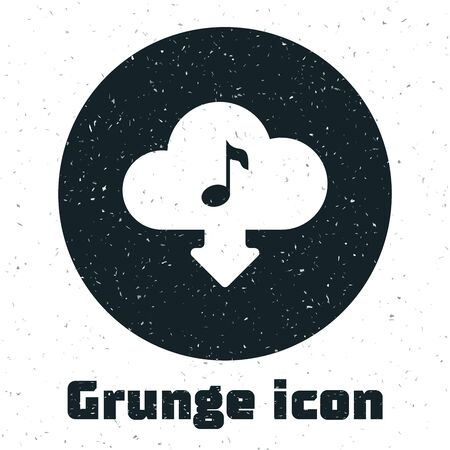Grunge Cloud download music icon isolated on white background. Music streaming service, sound cloud computing, online media streaming, audio wave. Vector Illustration