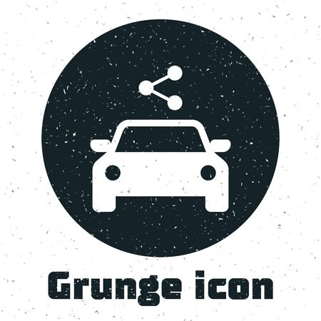 Grunge Car sharing icon isolated on white background. Carsharing sign. Transport renting service concept. Vector Illustration
