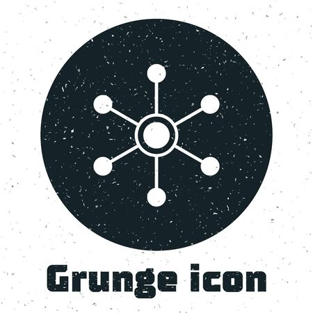 Grunge Network icon isolated on white background. Global network connection. Global technology or social network. Connecting dots and lines. Vector Illustration