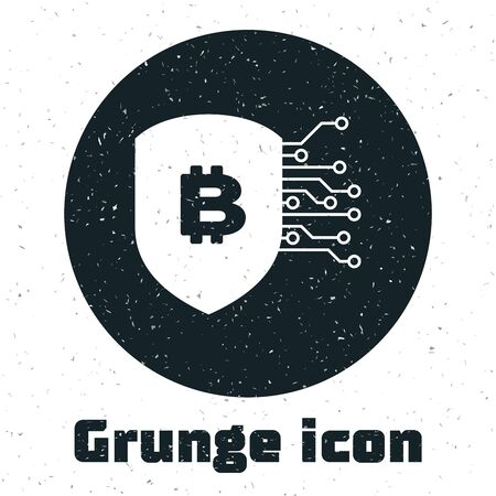 Grunge Shield with bitcoin icon isolated on white background. Cryptocurrency mining, blockchain technology, security, protect, digital money. Vector Illustration Ilustração