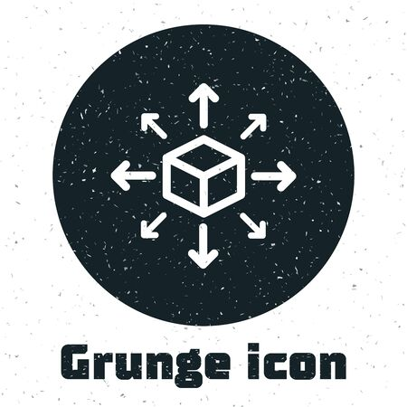 Grunge Distribution icon isolated on white background. Content distribution concept. Vector Illustration