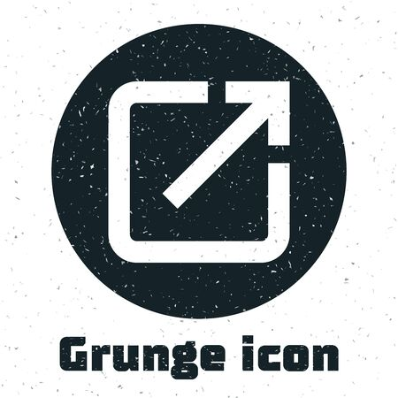 Grunge Open in new window icon isolated on white background. Open another tab button sign. Browser frame symbol. External link sign. Vector Illustration Illustration