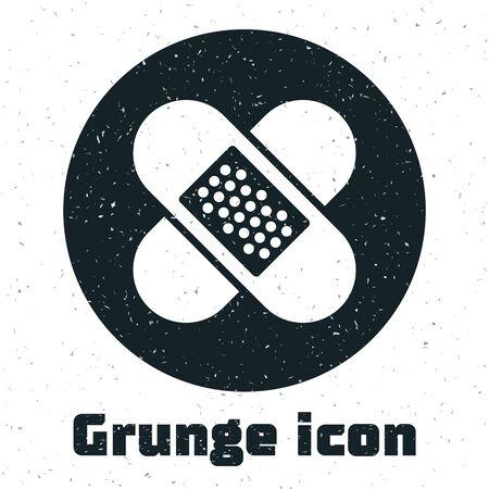 Grunge Crossed bandage plaster icon isolated on white background. Medical plaster, adhesive bandage, flexible fabric bandage. Vector Illustration