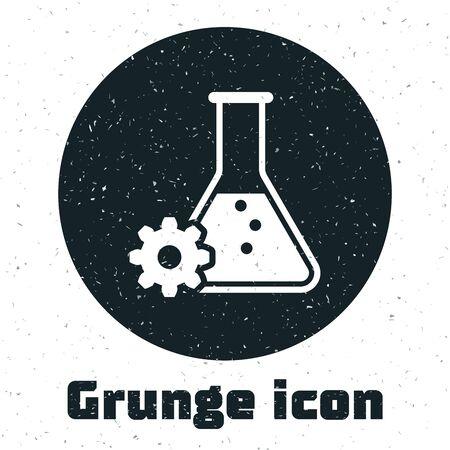 Grunge Bioengineering icon isolated on white background. Element of genetics and bioengineering icon. Biology, molecule, chemical icon. Vector Illustration