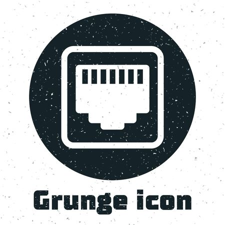 Grunge Network port - cable socket icon isolated on white background. LAN, ethernet port sign. Local area connector icon. Vector Illustration 矢量图片