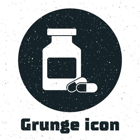Grunge Medicine bottle and pills icon isolated on white background. Bottle pill sign. Pharmacy design. Vector Illustration  イラスト・ベクター素材