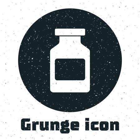 Grunge Medicine bottle icon isolated on white background. Bottle pill sign. Pharmacy design. Vector Illustration