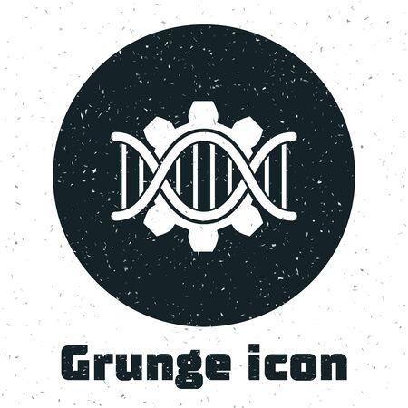 Grunge Genetic engineering icon isolated on white background. DNA analysis, genetics testing, cloning, paternity testing. Vector Illustration