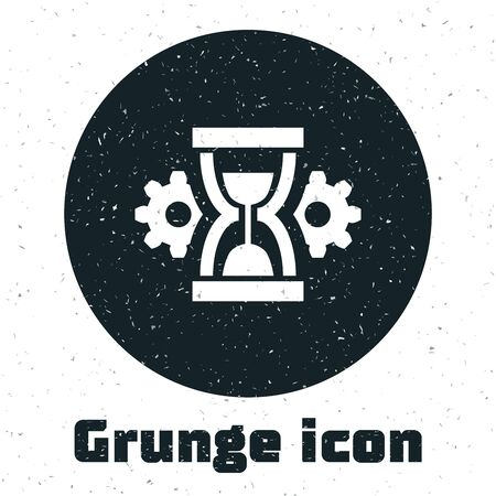 Grunge Hourglass and gear icon isolated on white background. Time Management symbol. Clock and gear icon. Productivity symbol. Vector Illustration