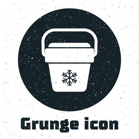 Grunge Cooler bag icon isolated on white background. Portable freezer bag. Handheld refrigerator. Vector Illustration