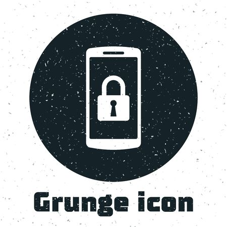 Grunge Smartphone with closed padlock icon isolated on white background. Phone with lock. Mobile security, safety, protection concept. Vector Illustration