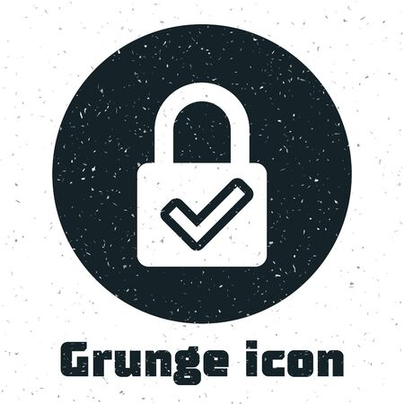 Grunge Open padlock and check mark icon isolated on white background. Cyber security concept. Digital data protection. Safety safety. Vector Illustration Ilustração
