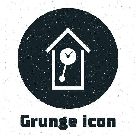 Grunge Retro wall watch icon isolated on white background. Cuckoo clock sign. Antique pendulum clock. Vector Illustration Illustration