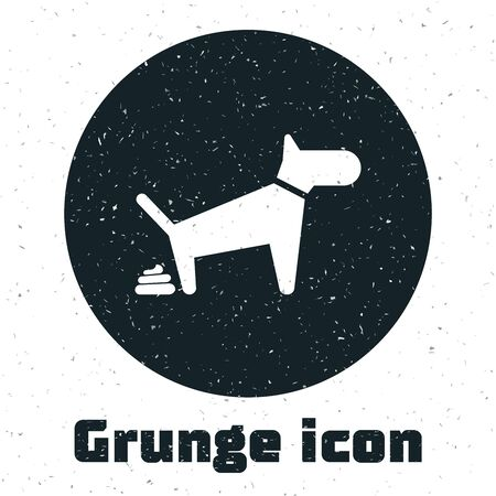 Grunge Dog pooping icon isolated on white background. Dog goes to the toilet. Dog defecates. The concept of place for walking pets. Vector Illustration Foto de archivo - 128695370