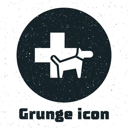 Grunge Veterinary clinic symbol icon isolated on white background. Cross with dog veterinary care. Pet First Aid sign. Vector Illustration