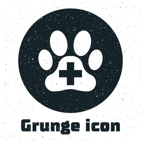 Grunge Veterinary clinic symbol icon isolated on white background. Cross hospital sign. A stylized paw print dog or cat. Pet First Aid sign. Vector Illustration