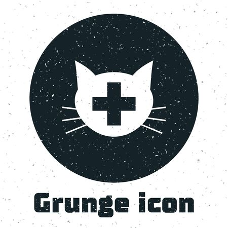 Grunge Veterinary clinic symbol icon isolated on white background. Cross with cat veterinary care. Pet First Aid sign. Vector Illustration