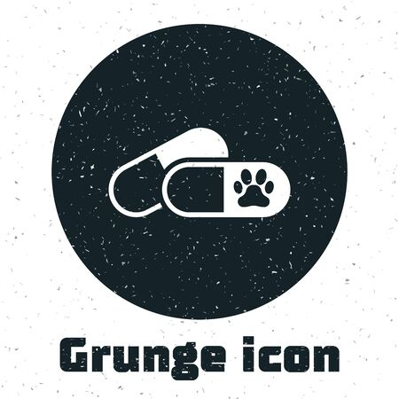 Grunge Dog and pills icon isolated on white background. Prescription medicine for animal. Vector Illustration