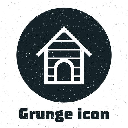 Grunge Dog house icon isolated on white background. Dog kennel. Vector Illustration
