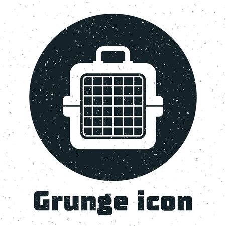 Grunge Pet carry case icon isolated on white background. Carrier for animals, dog and cat. Container for animals. Animal transport box. Vector Illustration  イラスト・ベクター素材