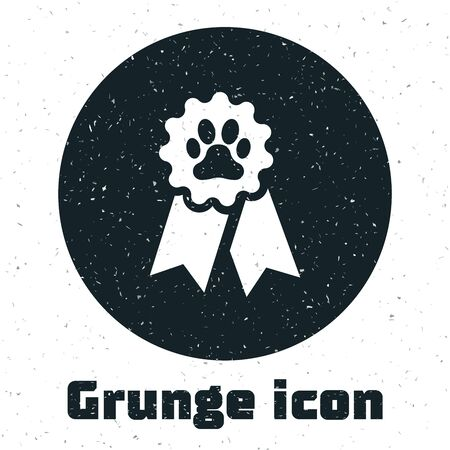 Grunge Pet award symbol icon isolated on white background. Badge with dog or cat paw print and ribbons. Medal for animal. Vector Illustration