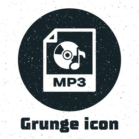 Grunge MP3 file document. Download mp3 button icon isolated on white background. Mp3 music format sign. MP3 file symbol. Vector Illustration Illustration