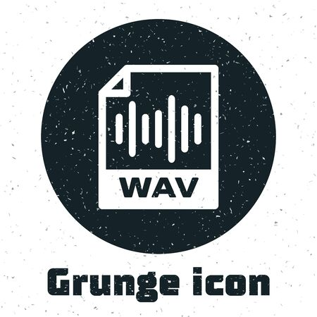 Grunge WAV file document. Download wav button icon isolated on white background. WAV waveform audio file format for digital audio riff files. Vector Illustration