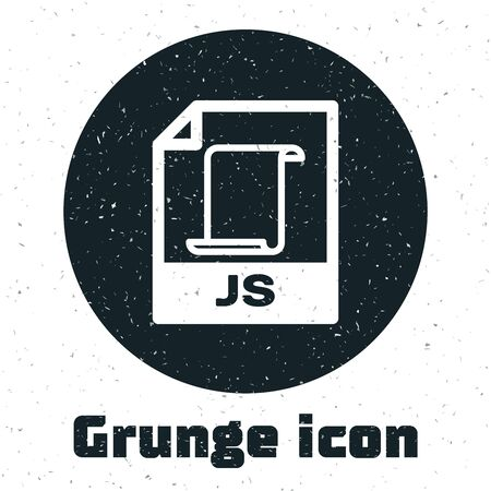 Grunge JS file document. Download js button icon isolated on white background. JS file symbol. Vector Illustration