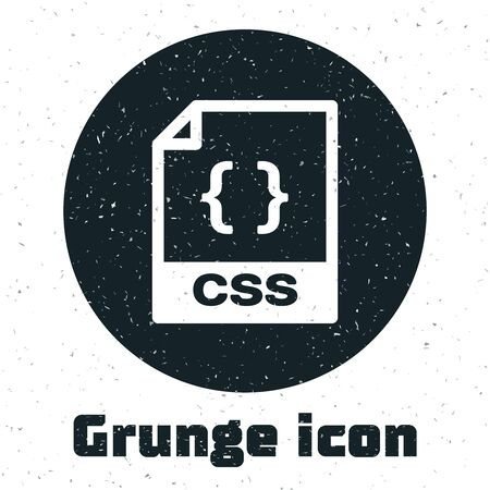 Grunge CSS file document. Download css button icon isolated on white background. CSS file symbol. Vector Illustration Ilustração