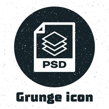 Grunge PSD file document. Download psd button icon isolated on white background. PSD file symbol. Vector Illustration Illustration