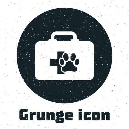 Grunge Pet first aid kit icon isolated on white background. Dog or cat paw print. Clinic box. Vector Illustration Ilustração