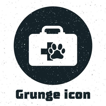 Grunge Pet first aid kit icon isolated on white background. Dog or cat paw print. Clinic box. Vector Illustration Illustration