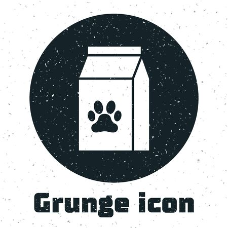 Grunge Bag of food for pet icon isolated on white background. Food for animals. Pet food package. Dog or cat paw print. Vector Illustration