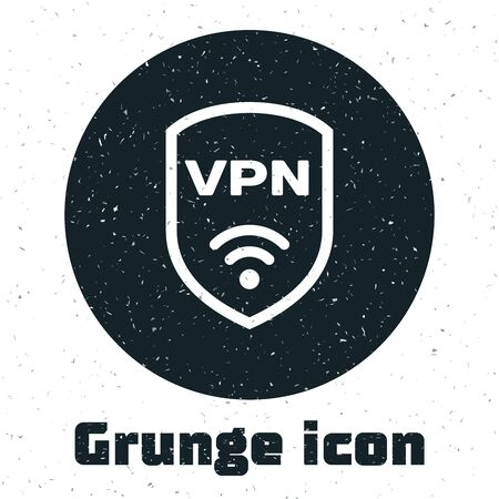 Grunge Shield with VPN and wifi wireless internet network symbol icon isolated on white background. VPN protect safety concept. Vector Illustration Ilustração