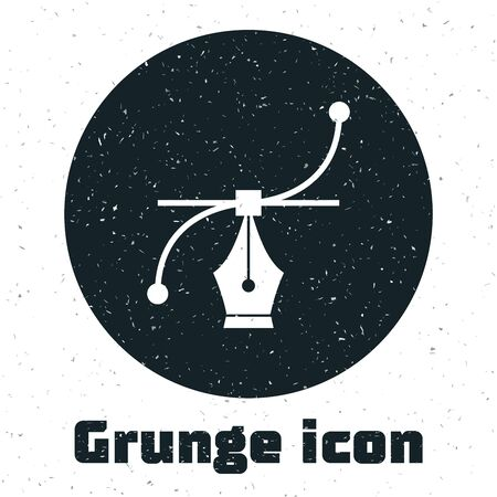 Grunge Bezier curve icon isolated on white background. Pen tool icon. Vector Illustration
