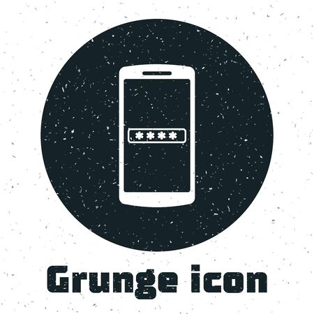 Grunge Mobile phone and password protection icon isolated on white background. Security, safety, personal access, user authorization, privacy. Vector Illustration