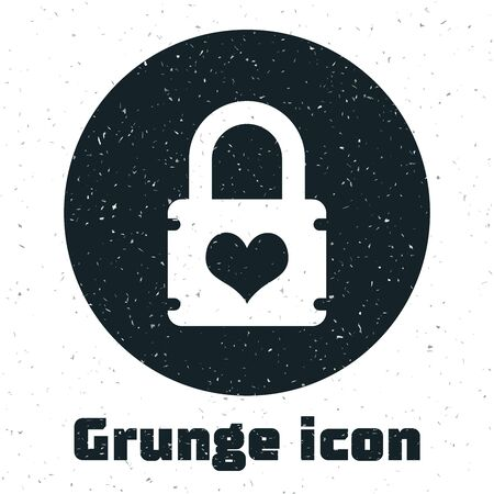 Grunge Padlock with heart icon isolated on white background. Locked Heart. Love symbol and keyhole sign. Vector Illustration