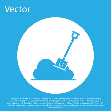 Blue Shovel in the ground icon isolated on blue background. Gardening tool. Tool for horticulture, agriculture, farming. White circle button. Vector Illustration Çizim