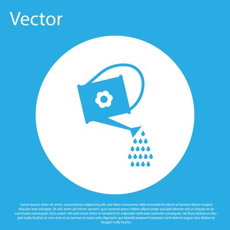 Blue Watering can icon isolated on blue background. Irrigation symbol. White circle button. Vector Illustration  イラスト・ベクター素材